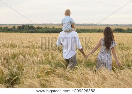 Happy Childhood, Family Walking On The Wheat Field