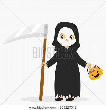 a boy wearing grim reaper costume and skeleton mask for Halloween party, carrying a scythe and pumpkin bucket full of candies. Halloween cartoon vector