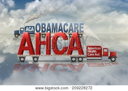 United States Health Care plans by Democrats Obamacare and by Republicans American Health Care Act carried in and out on two flatbed trucks. 3D Illustration