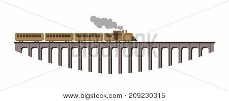 Long vintage steam train that goes over huge bridge that holds on solid pillars isolated vector illustration on white background. Convenient and safe railway transport and architectural construction.