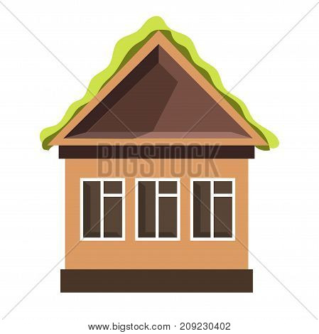 Small cottage house with large plastic windows and bright green roof isolated cartoon flat vector illustration on white background. Cozy one-storey dwelling with beige walls and triangular top.