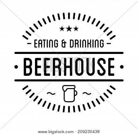 Black logo. Beer house label template. Graphic design element for business cafe, bar, pub. Vector Illustration isolated on white background.