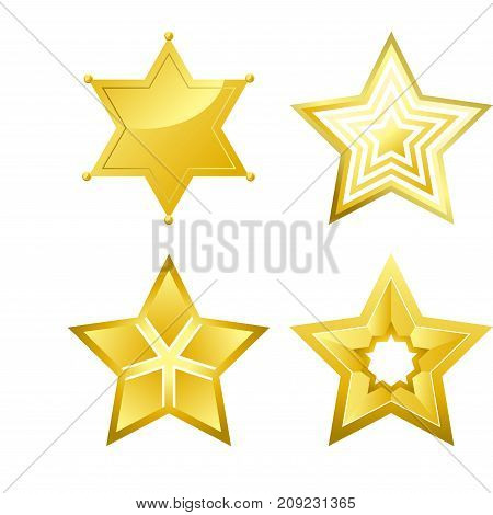 Shiny bright five-pointed stars of several designs with smooth surface isolated cartoon flat vector illustrations set on white background.