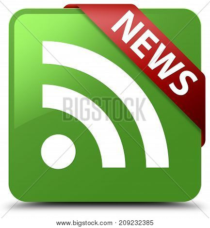 News (rss Icon) Soft Green Square Button Red Ribbon In Corner