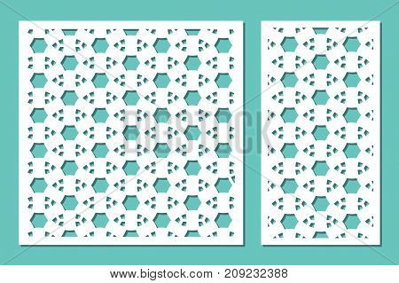 Set decorative panel laser cutting. wooden panel. Modern elegant geometric mosaic pattern. Ratio 1:2, 1:1. Vector illustration.