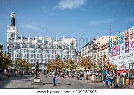 Madrid, Spain - October 15, 2017: Scenic view of the Square of Saint Ann Santa Ana in Madrid a blue sky day. It is a plaza located in central Madrid, in the Quarter of the Letters.