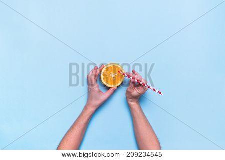 Fresh Juice Fruit Orange Color Blue Flat Lay