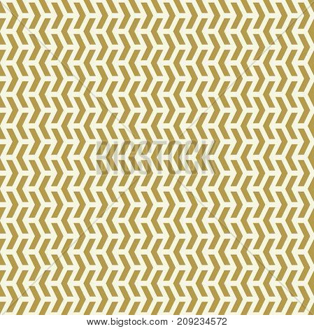 Geometric vector pattern with golden arrows. Geometric modern ornament. Seamless abstract background