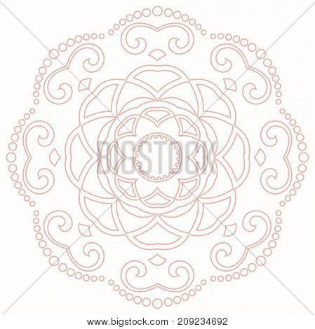 Elegant vector ornament in classic style. Abstract traditional pattern with oriental elements. Classic pink round vintage pattern