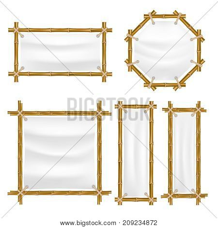 Vector bamboo frame with canvas set. Wooden frame made of bamboo sticks tied up with ropes. Bamboo home decoration.