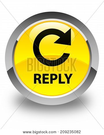 Reply (rotate Arrow Icon) Glossy Yellow Round Button