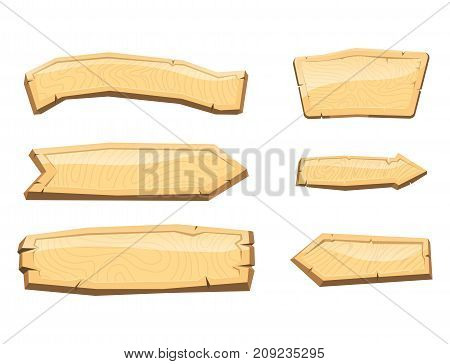 Directory wooden signboard hanging isolated road board wood tablet indicating index arrowhead way vector illustration. Aged banner billboard grunge rusty plaque panel