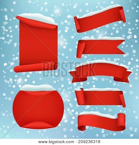 Vector set of paper winter holidays and winter sale banners. Red realistic ribbon banners with snow.