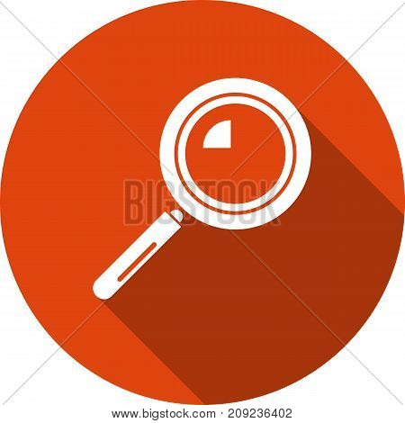 magnifying glass round orange vector icon with white silhouette