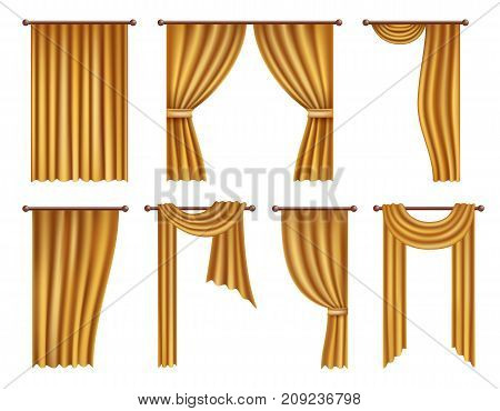 Vector golden window curtains and drapes set. Realistic illustration isolated on white background.