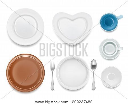Vector top view illustration of kitchen dishware. Realistic plate set, plate with fork and spoon, saucer with cup.