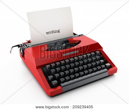 White paper with writing word in red vintage typewriter. 3D illustration.