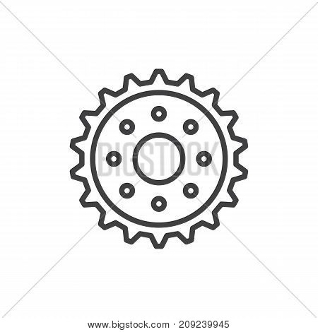 Gear line icon, outline vector sign, linear style pictogram isolated on white. Cogwheel symbol, logo illustration. Editable stroke