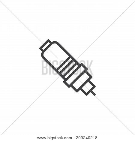 Spark plug line icon, outline vector sign, linear style pictogram isolated on white. Symbol, logo illustration. Editable stroke