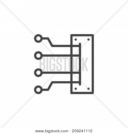 Car Spark Plug Wires line icon, outline vector sign, linear style pictogram isolated on white. Symbol, logo illustration. Editable stroke