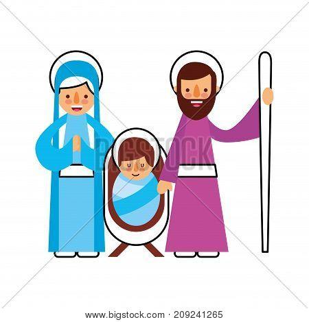 christmas nativity scene holy family jesus mary and joseph vector illustration