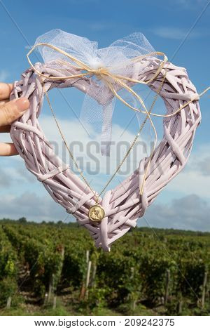 The Christening Collar Of A Child In Pink Heart