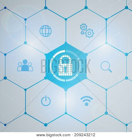 Cybersecurity and information network protection. Future cyber technology web services for business and internet project