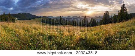 Mountain panorama at dramatic sunset in Slovakia Velka Fatra Smrekovica