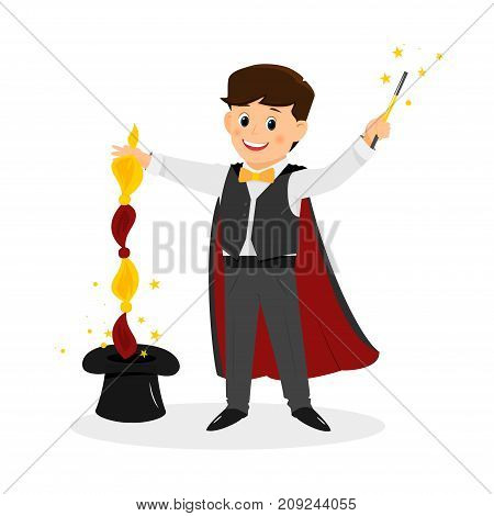 Magician with hat and  magic wand..Isolated on white background. Cartoon style. Vector illustration