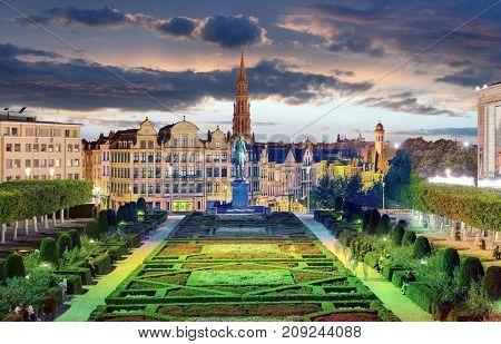 Brussels at a night in Belgium skyu