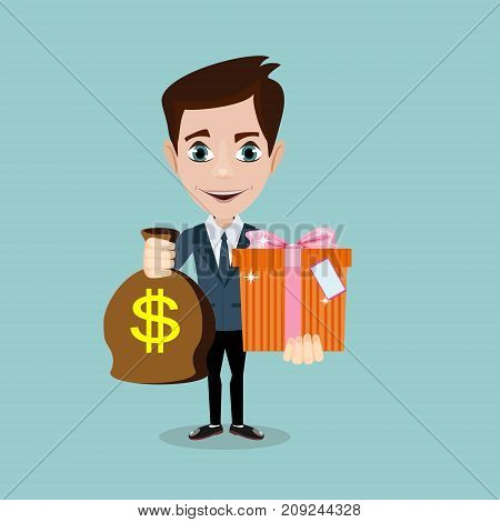 The young man hold a bag with dollars and gift, , vector illustration
