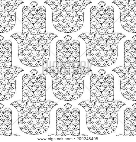 Hamsa hand drawn symbol. Black and white seamless pattern for coloring page. Decorative amulet for good luck and prosperity. Vector