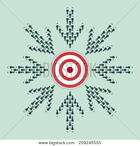 Large group of people seen from above gathered together in the shape of a arrow hitting the target center. Stock flat vector illustration.