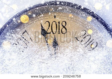 Countdown to midnight. Retro style clock counting last moments before Christmas or New Year 2018.