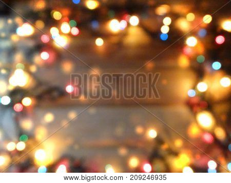 abstract background colorful blurred chrismas light garland