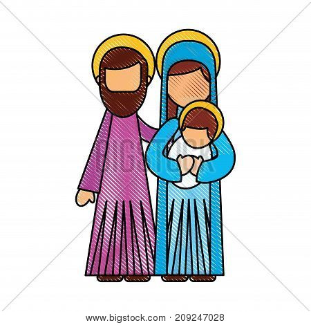 nativity scene of joseph and mary holding baby jesus vector illustration