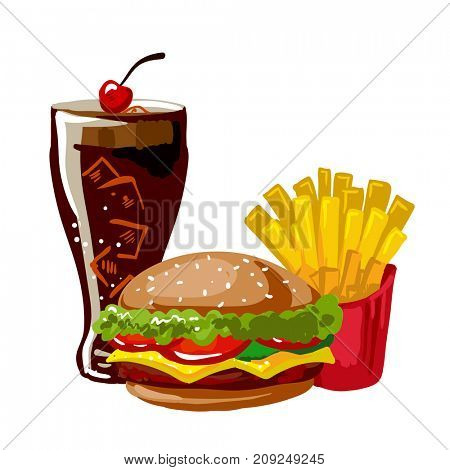 Hamburger or cheeseburger, french fries and glass with cola. Lunch in american fast food restaurant: burger, fried potato and soda drink. Icon in flat style.  illustration of isolated on white.