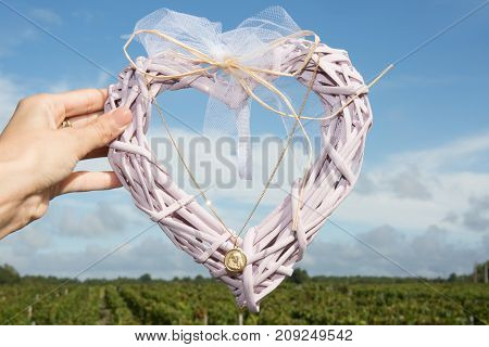 Fiber Heart With A Child Christening Collar