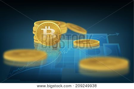 Bitcoin. Physical bit coin. A digital currency. The cryptocurrency. Gold coin with the bitcoin symbol. On the chart of the course of the sale.