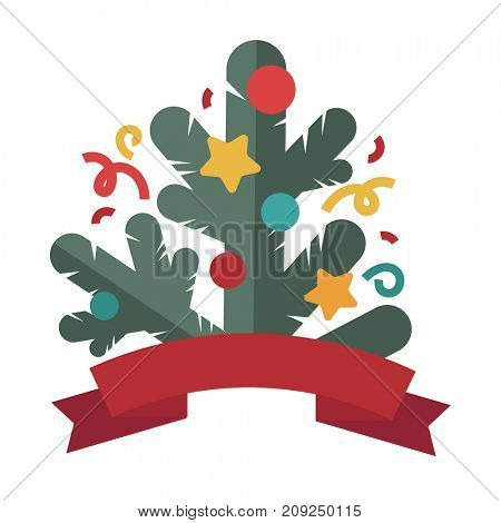 Christmas tree design template card. Flat style.  background