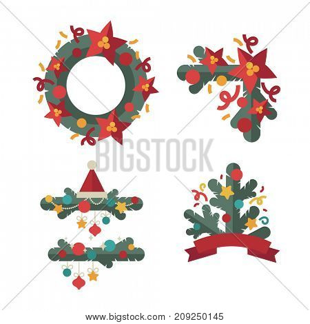 A set of Christmas design elements in flat style.  Illustration.