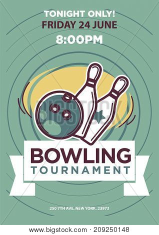 Bowling tournament poster template. Sport game contest event invitation sign or banner.  balls and skittle pins strike