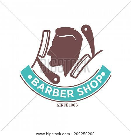 Barber shop logo or  icon of man head and scissors for barbershop salon, premium hairdresser coiffeur or hipster trend haircutter