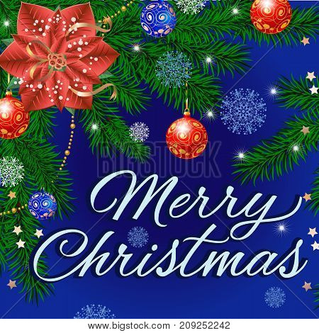 Merry Christmas lettering with fir twigs decorated with balls on blue background. Handwritten text, calligraphy. Can be used for greeting cards, posters and leaflets