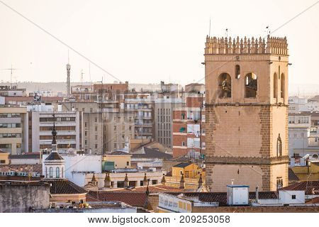 Saint John the Baptist Cathedral or San Juan Bautista over the city of Badajoz Spain