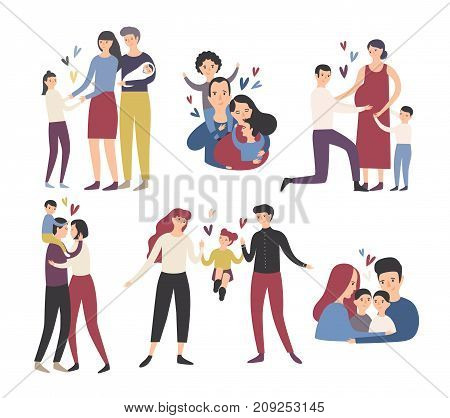 Happy loving family. Mother, father and children smiling, hugging, kissing and playing. Collection of cute and funny flat cartoon characters in different situations. Colorful vector illustration