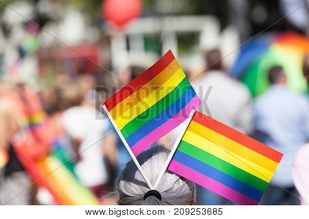 Gay rainbow flags. Lesbian, gay, bisexual and transgender (LGBT) pride.