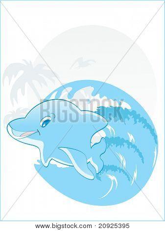 Friendly looking cute blue dolphin in leap