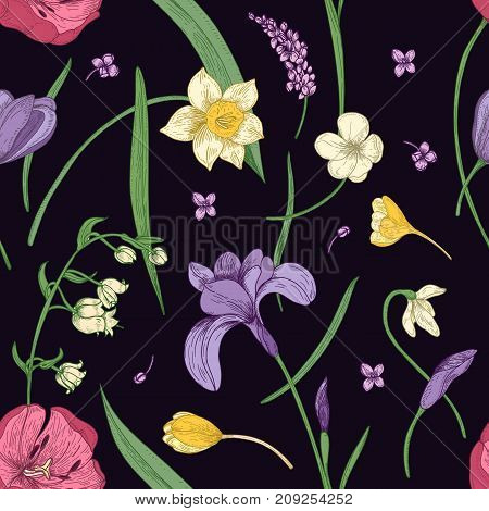 Floral seamless pattern with beautiful blooming spring flowers hand drawn in antique style on black background. Botanical vector illustration for textile print, wallpaper, wrapping paper, backdrop