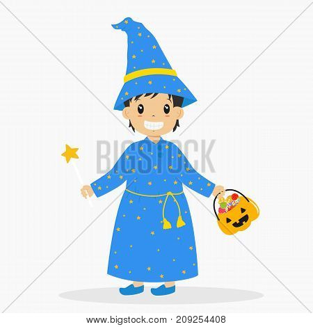 a boy wearing wizard costume and holding a magic wand for Halloween party, carrying a pumpkin bucket full of candies. Halloween cartoon vector